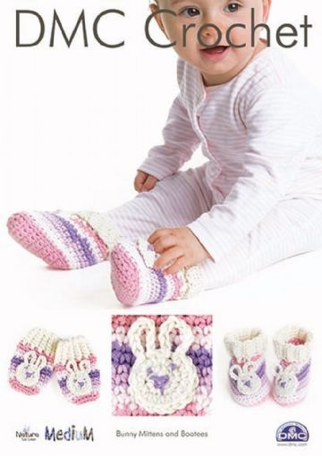 DMC Bunny Bootees & Mittens Crochet Pattern